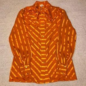 Vintage bow neck tie blouse orange stripped